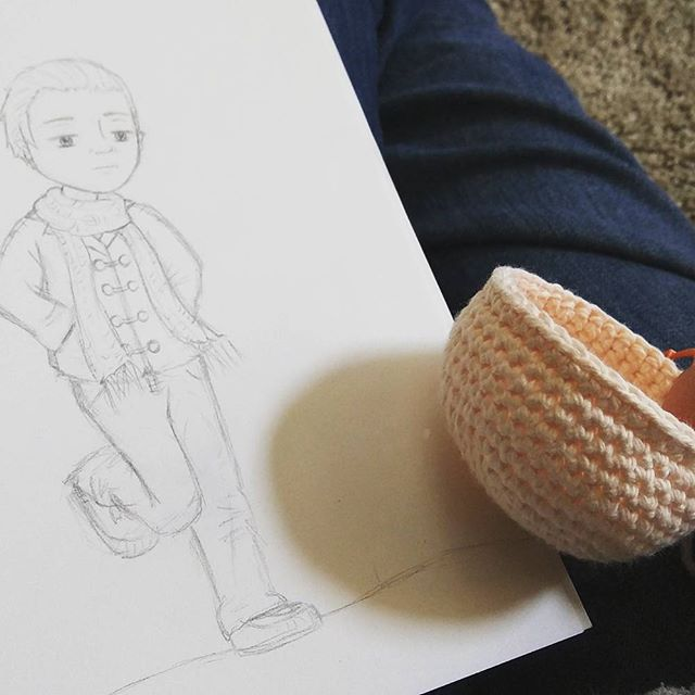 The beginning of Timothy's transformation into doll form. Photo and Art Credit: J.H. Winter