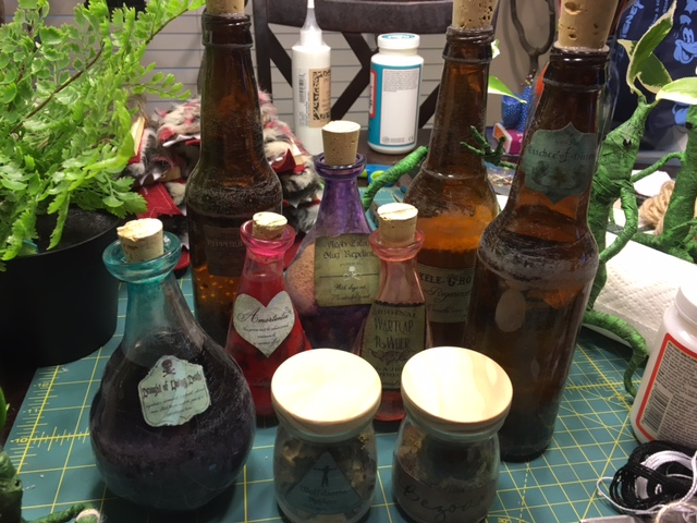 Potion Bottles Finished and Ready for the Party! Photo Credit: J.H. Winter