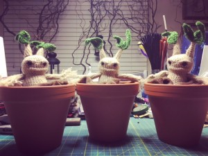 Mandrake Amigurumi Before Their Pots were Painted. Photo Credit: J.H. Winter