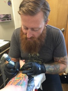 Tattoo in Progress by Jeremy Switzer from Optic Nerve Arts Tattoo in Portland, Oregon. Photo Credit: J.H. Winter